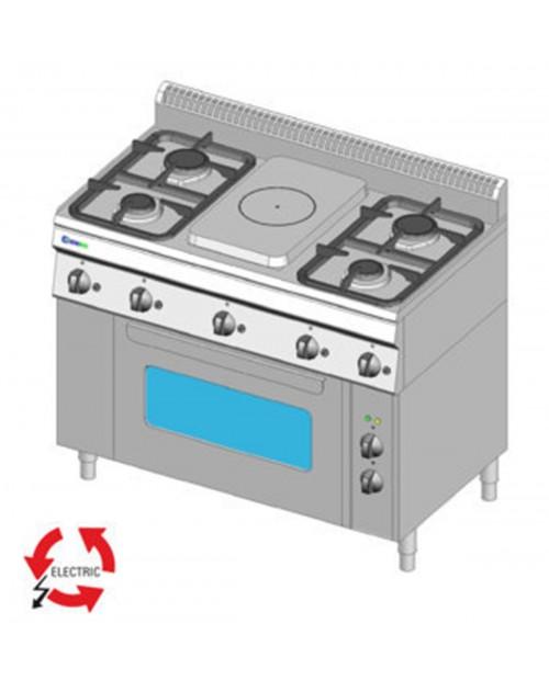 Masina de gatit pe gaz cu placa, 4 arzatoare, cuptor electric ventilat GN1/1