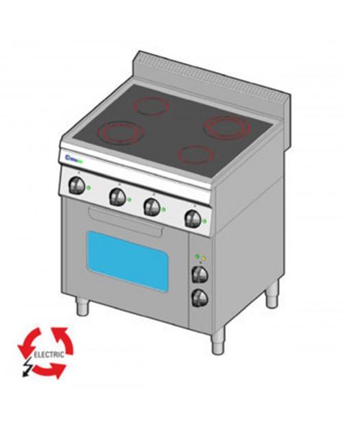 Masina de gatit electrica cu vitroceramica, 4 plite, cuptor electric ventilat