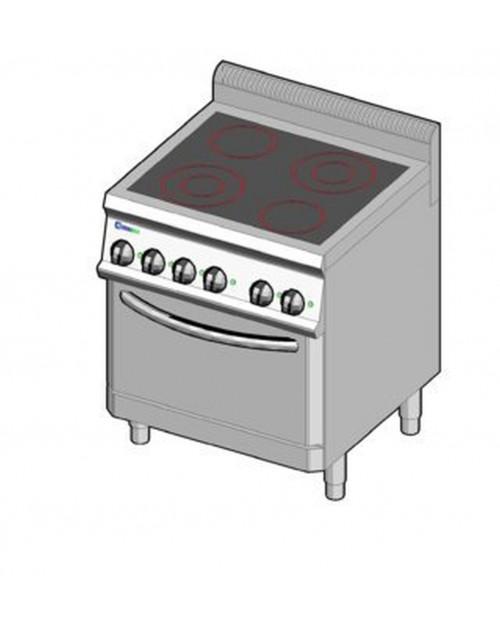 Masina de gatit electrica cu vitroceramica, cuptor electric ventilat GN2/1