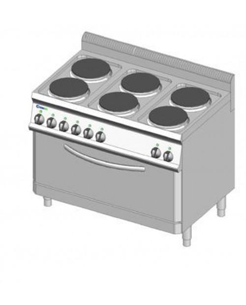 Masina de gatit electrica cu suport, 6 plite, cuptor electric GN2/1