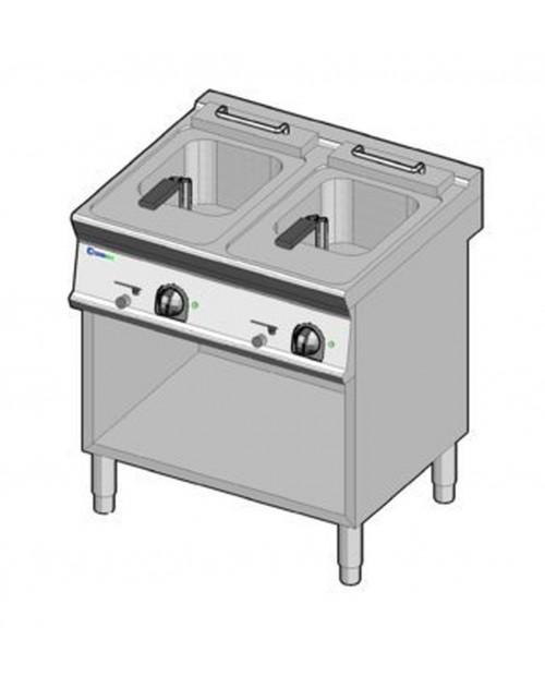 Friteuza electrica, 2 incinte, 8 litri + 8 litri, suport propriu