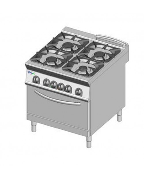 Masina de gatit pe gaz 4 arzatoare, cuptor electric GN2/1
