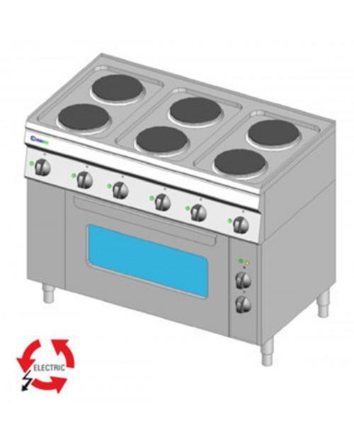 Masina de gatit electrica 6 plite, gama GN1/1, cuptor electric ventilat