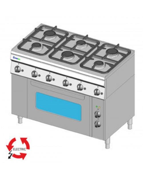 Masina de gatit pe gaz cu 4 arzatoare, cuptor electric cu ventilatie GN1/1