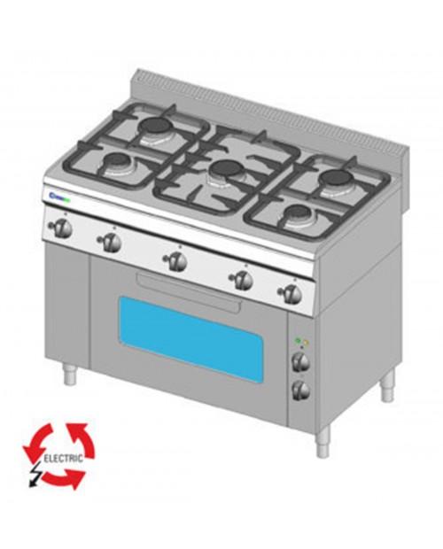 Masina de gatit pe gaz cu 5 arzatoare, cuptor electric cu ventilatie GN1/1
