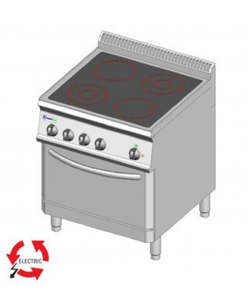 Masina de gatit electrica cu vitroceramica, cuptor electric ventilat GN1/1