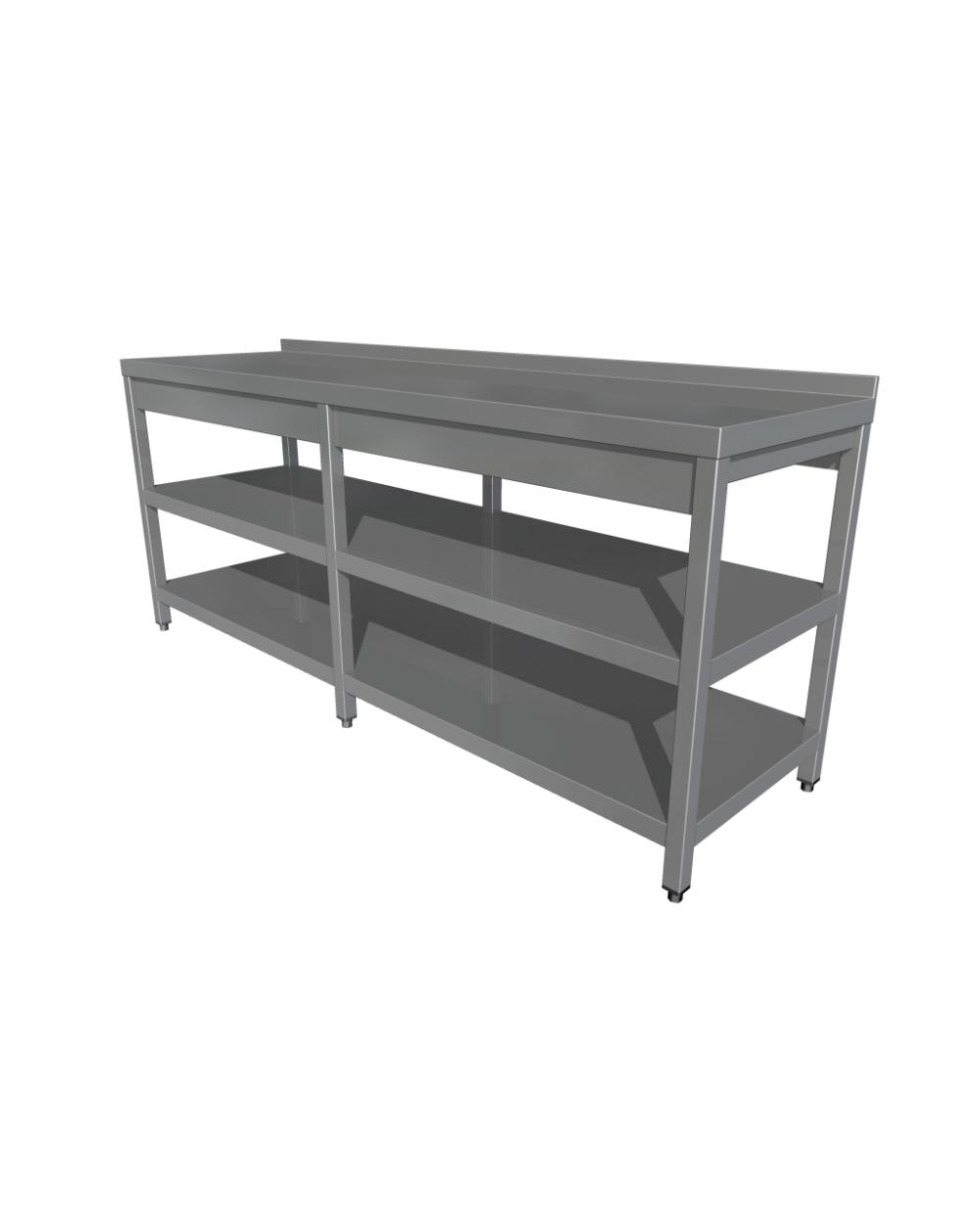 Tavolo Con Gamba Centrale tavolo da lavoro, 6 gambe, scaffale centrale e inferiore, con upstand (2100  - 2800 mm * 600 mm * 850 mm) - horecapiv