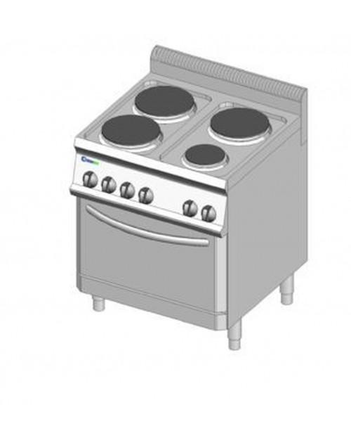 Masina de gatit electrica cu suport, 4 plite, cuptor electric GN2/1