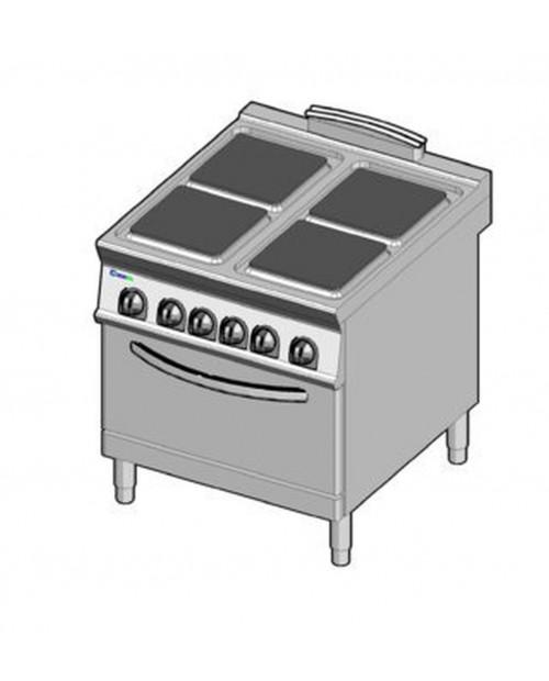 Masina de gatit electrica, 4 plite, cuptor electric GN2/1