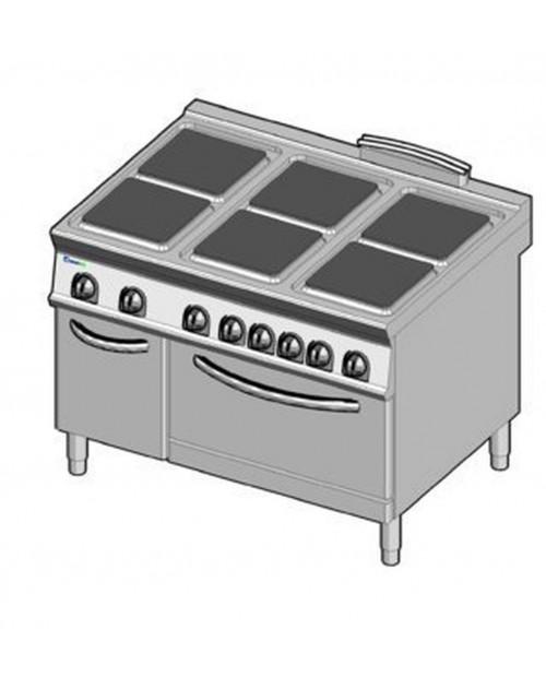 Masina de gatit electrica, 6 plite, cuptor electric GN2/1