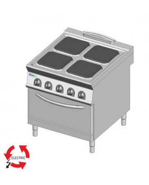 Masina de gatit electrica, 4 plite, cuptor electric ventilat GN1/1